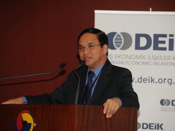 Tổng Giám đốc Tân Cảng Sài Gòn Nguyễn Đăng Nghiêm phát biểu tại Hội thảo. (Nguồn: Vietnam+)