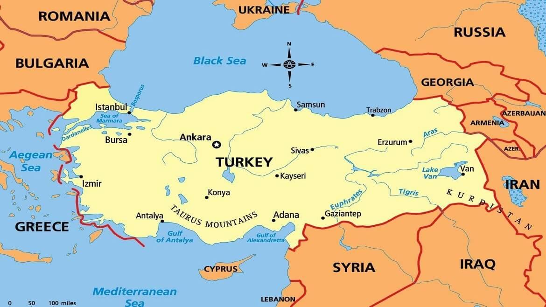 Đất nước Turkey trên bản đồ thế giới