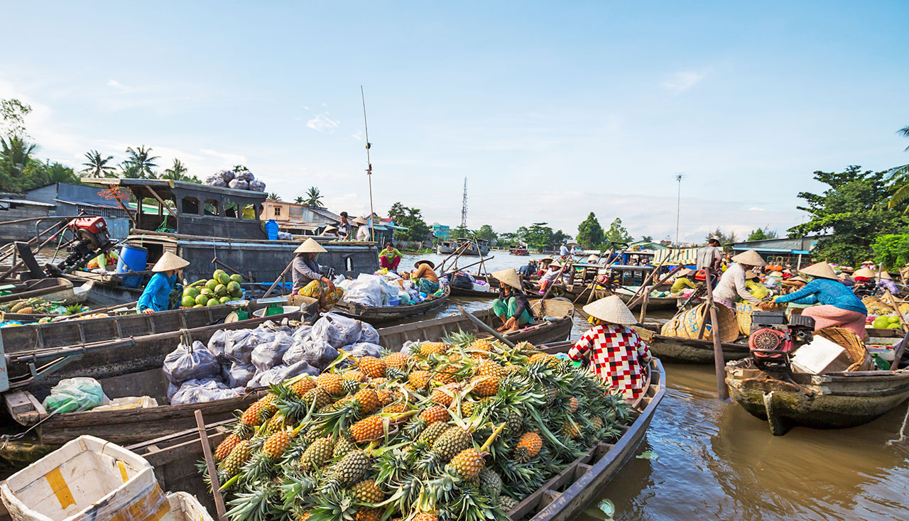 Special floating market in the Mekong Delta