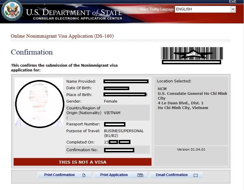 Trang xác nhận đơn DS-160